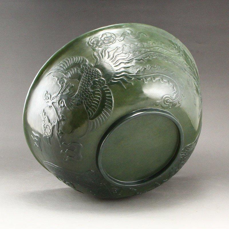 Qing Dy Hetian Jade Low Relief Dragon Phoenix Big Bowl - 10
