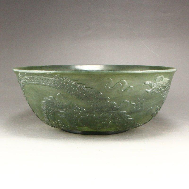 Qing Dy Hetian Jade Low Relief Dragon Phoenix Big Bowl