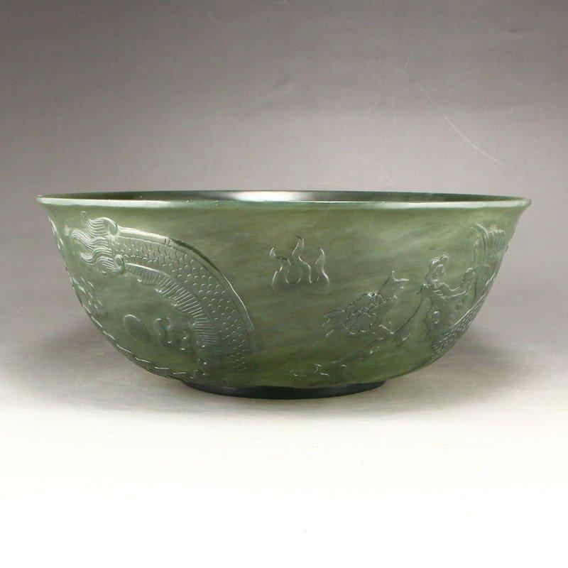 Qing Dy Hetian Jade Low Relief Dragon Phoenix Big Bowl - 2