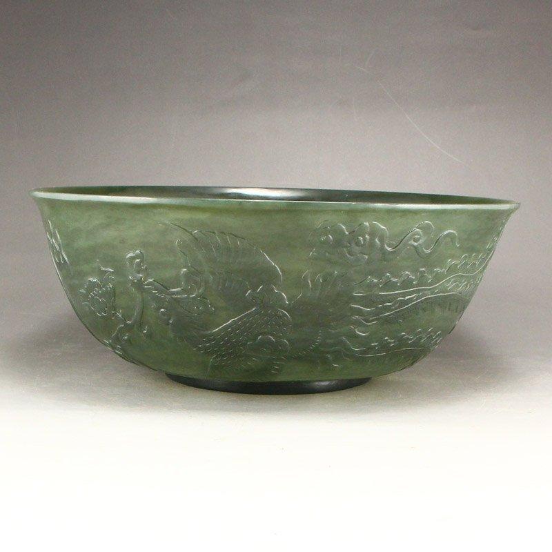 Qing Dy Hetian Jade Low Relief Dragon Phoenix Big Bowl - 3