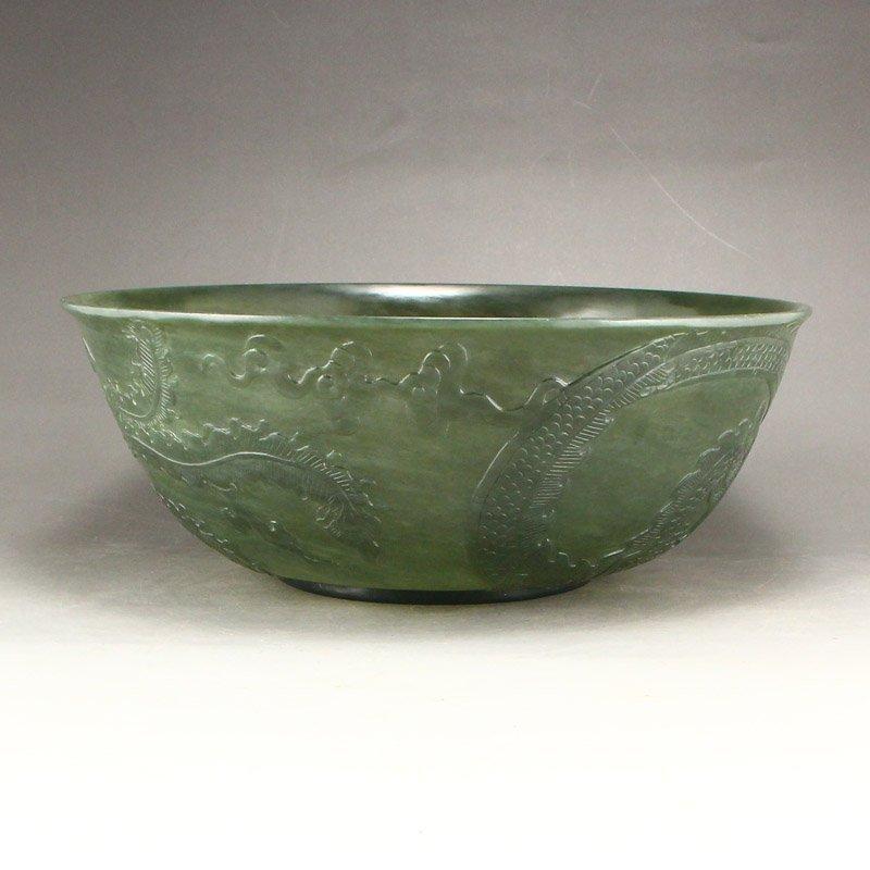 Qing Dy Hetian Jade Low Relief Dragon Phoenix Big Bowl - 4