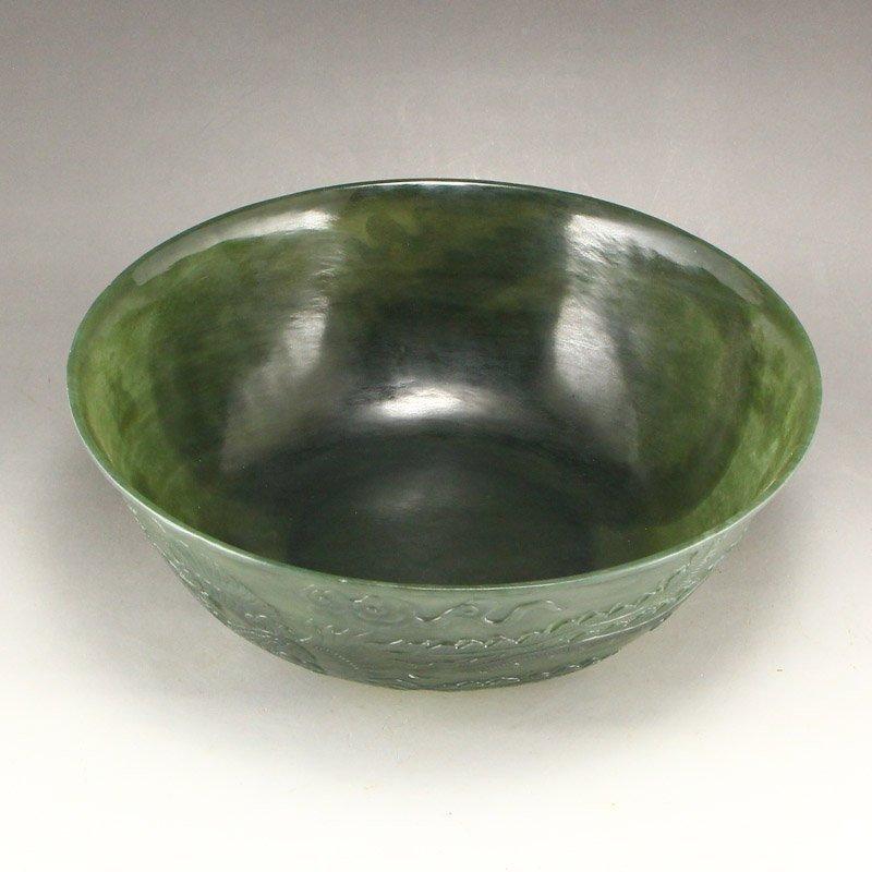 Qing Dy Hetian Jade Low Relief Dragon Phoenix Big Bowl - 6