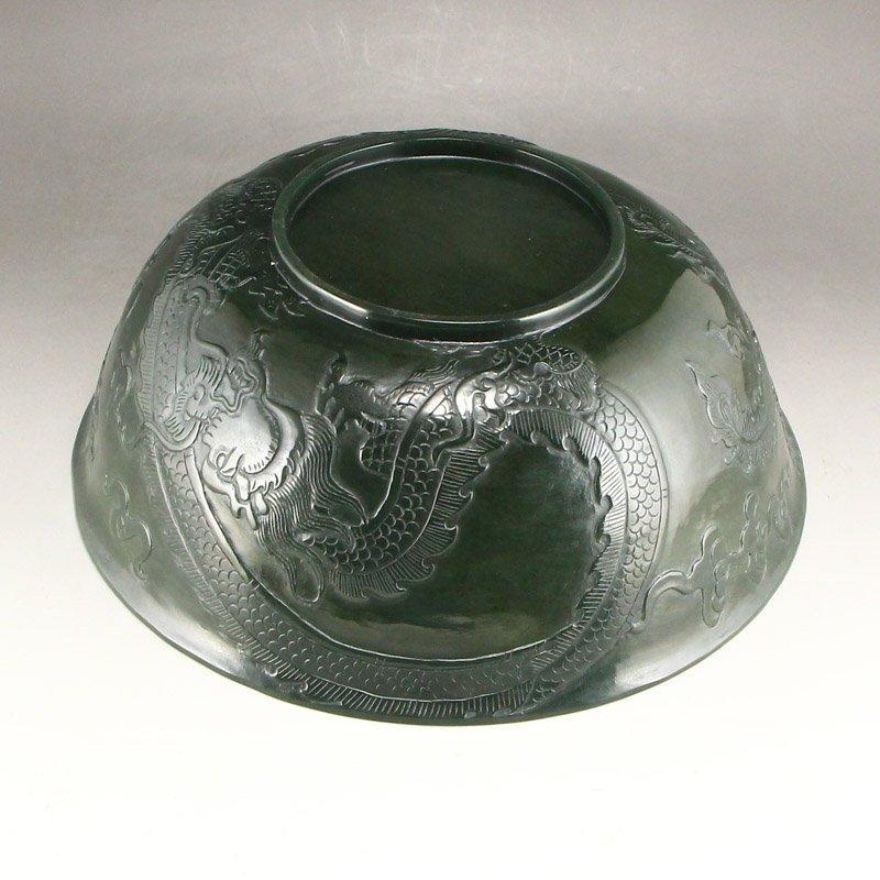 Qing Dy Hetian Jade Low Relief Dragon Phoenix Big Bowl - 7