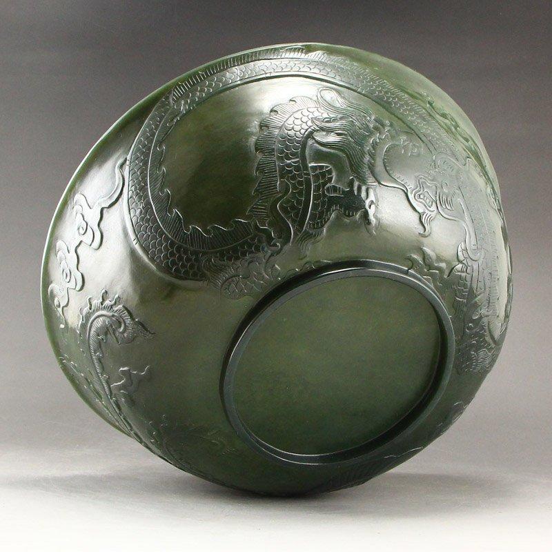 Qing Dy Hetian Jade Low Relief Dragon Phoenix Big Bowl - 8