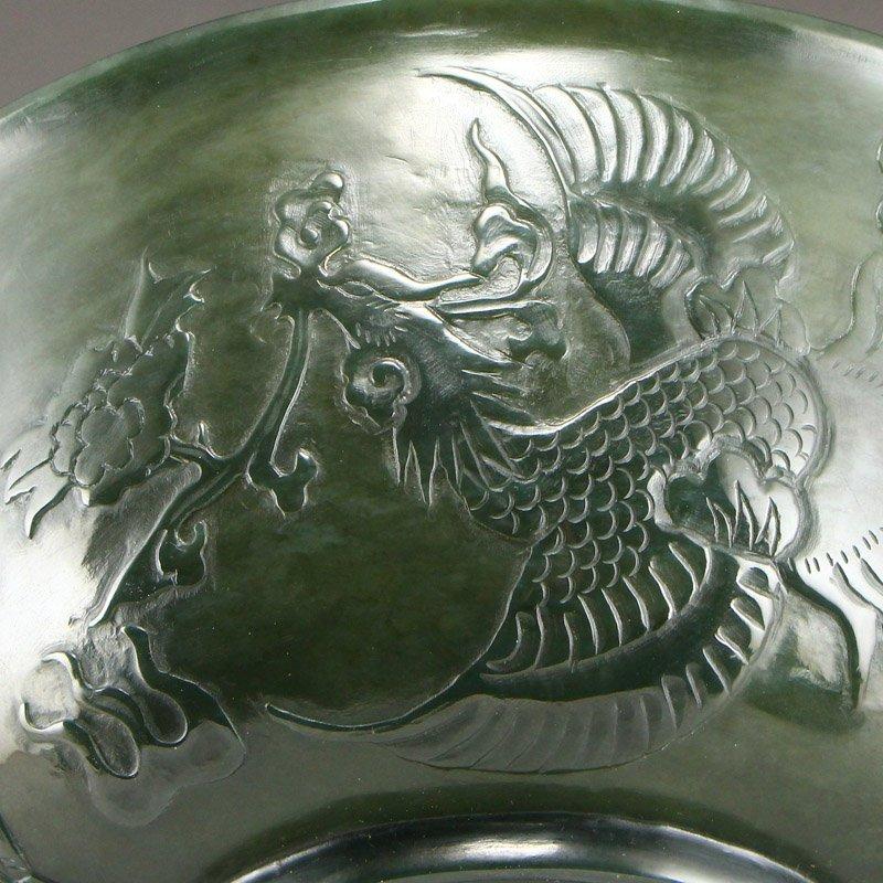Qing Dy Hetian Jade Low Relief Dragon Phoenix Big Bowl - 9