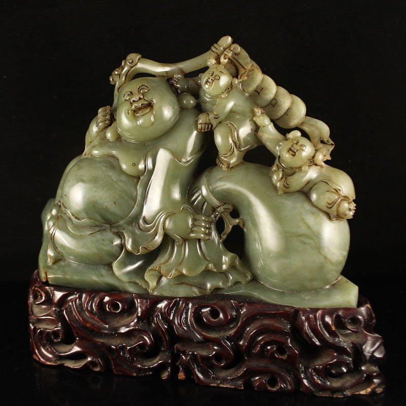 Hetian Jade Statue - Laughing Buddha & Fortune Kids - 2