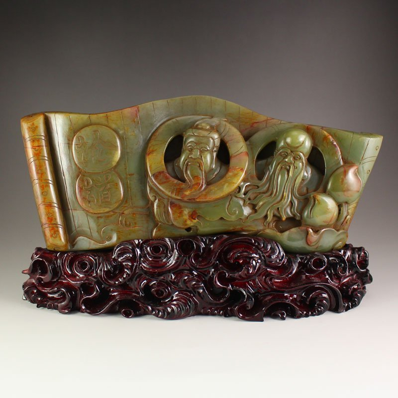 Hand Carved Chinese Hetian Jade Figure Statue