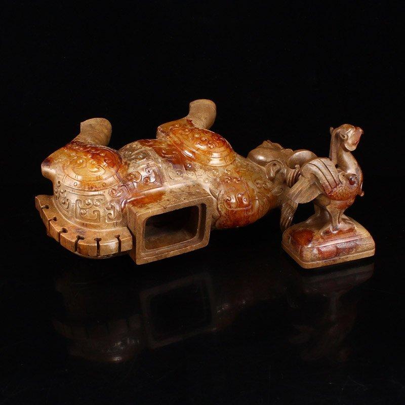 Pair Han Dynasty Hetian Jade Burners - Oxen & Birds - 10