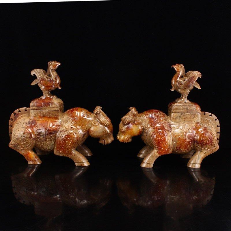 Pair Han Dynasty Hetian Jade Burners - Oxen & Birds
