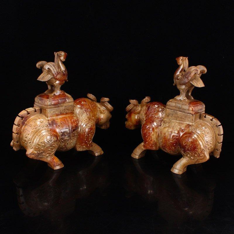 Pair Han Dynasty Hetian Jade Burners - Oxen & Birds - 2