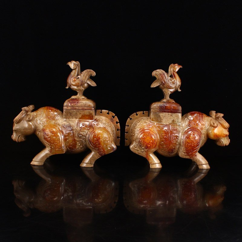 Pair Han Dynasty Hetian Jade Burners - Oxen & Birds - 4
