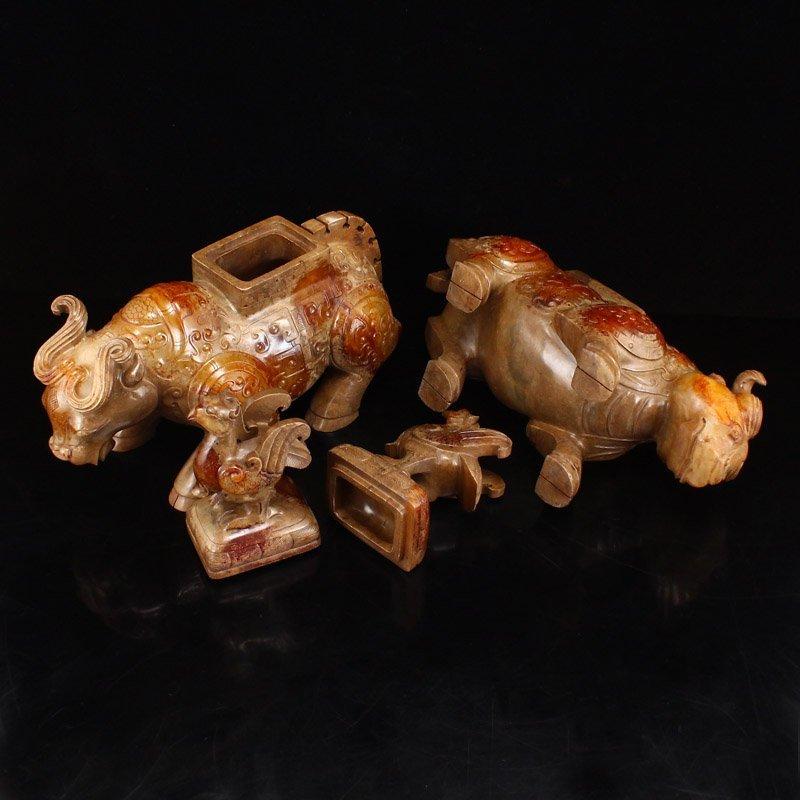Pair Han Dynasty Hetian Jade Burners - Oxen & Birds - 5