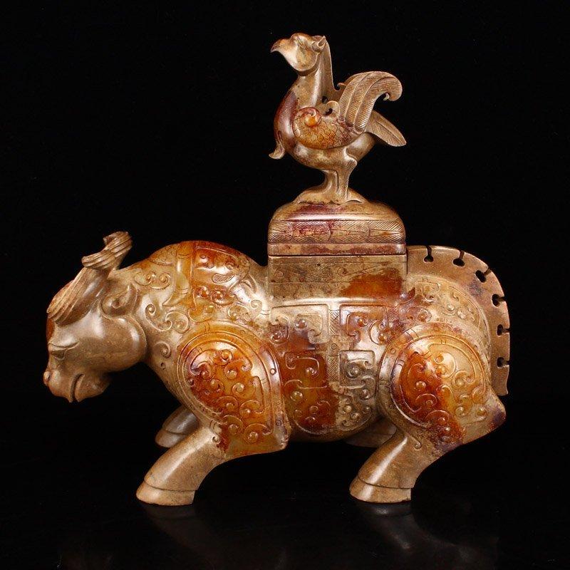 Pair Han Dynasty Hetian Jade Burners - Oxen & Birds - 6