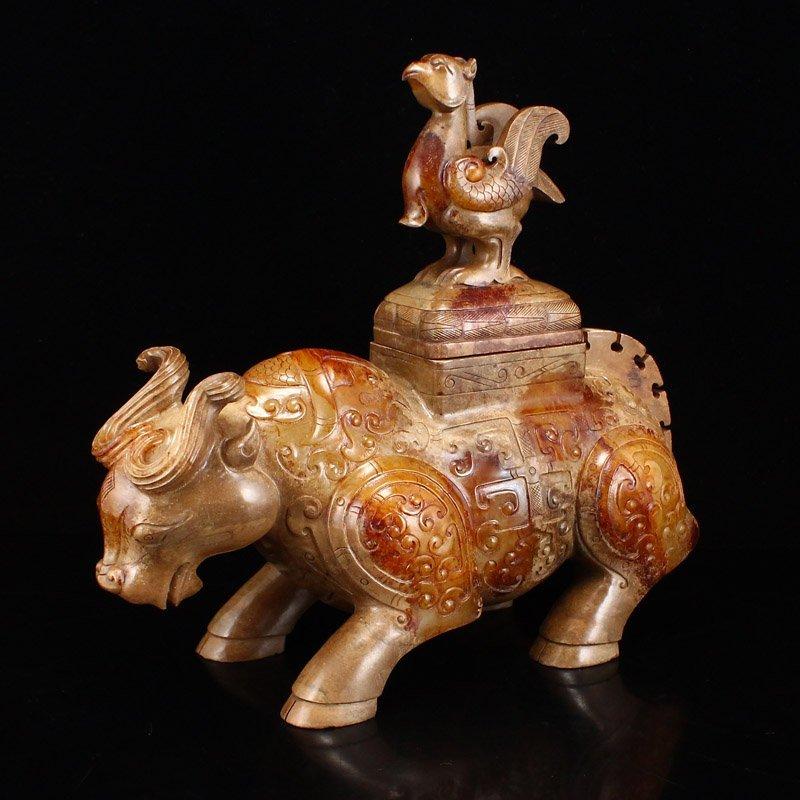 Pair Han Dynasty Hetian Jade Burners - Oxen & Birds - 7