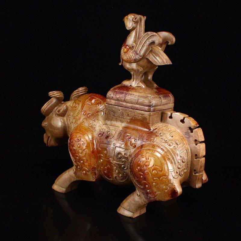 Pair Han Dynasty Hetian Jade Burners - Oxen & Birds - 8
