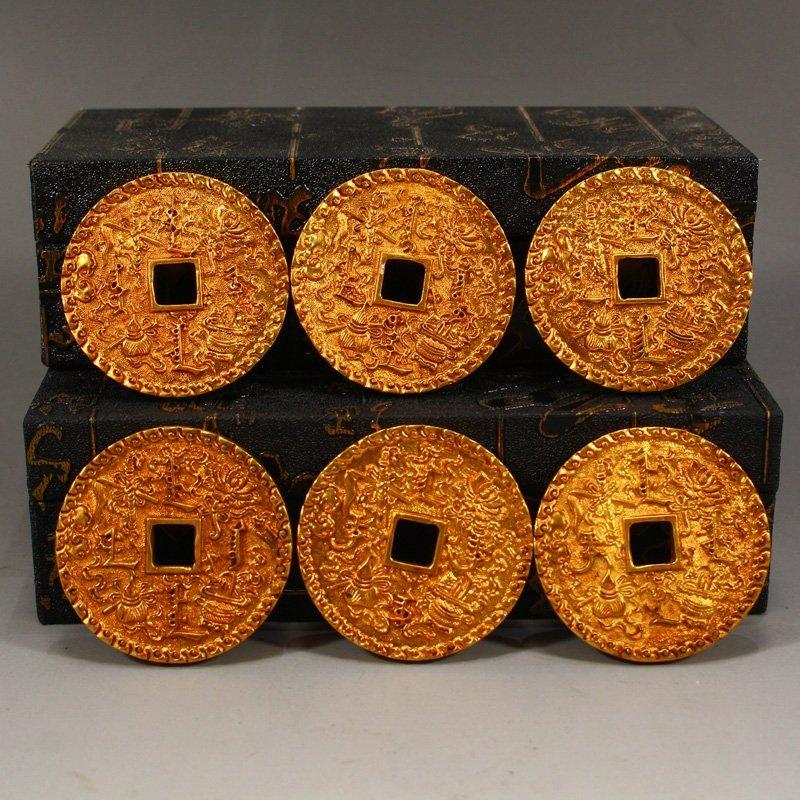 Twelve Gilt Gold Red Copper Sacrifice Bless Coins - 10