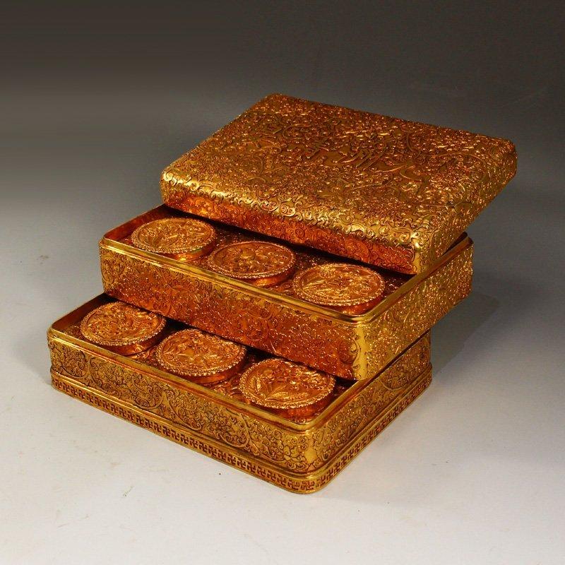 Twelve Gilt Gold Red Copper Sacrifice Bless Coins - 2