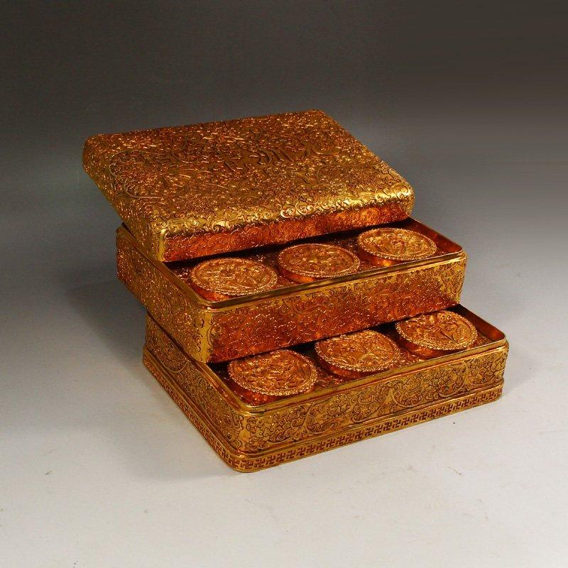 Twelve Gilt Gold Red Copper Sacrifice Bless Coins - 3