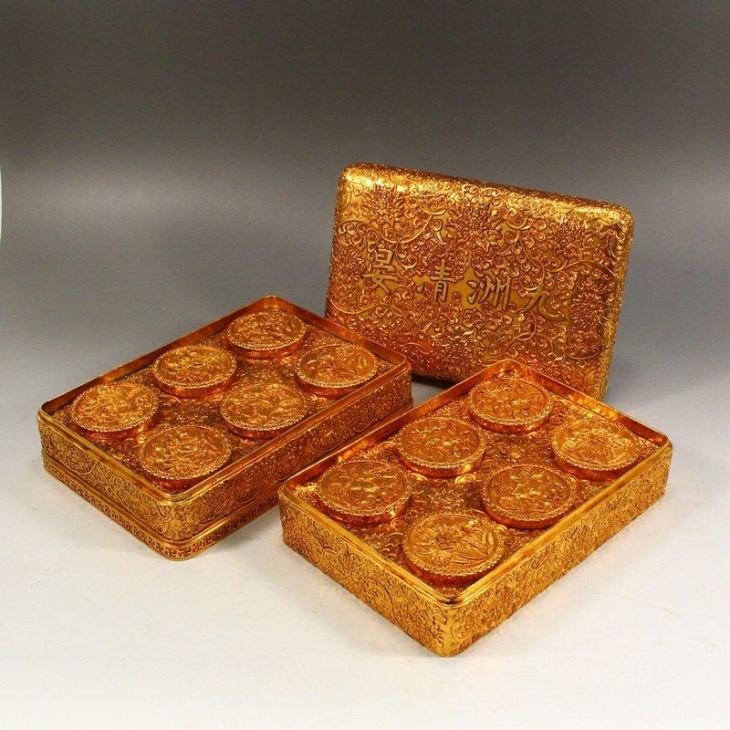 Twelve Gilt Gold Red Copper Sacrifice Bless Coins - 4