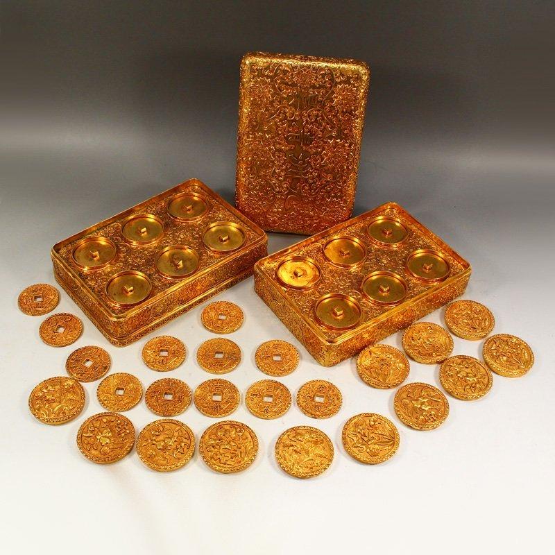 Twelve Gilt Gold Red Copper Sacrifice Bless Coins - 5