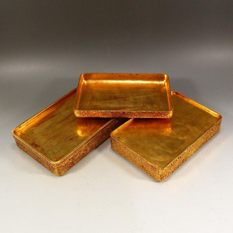 Twelve Gilt Gold Red Copper Sacrifice Bless Coins - 7