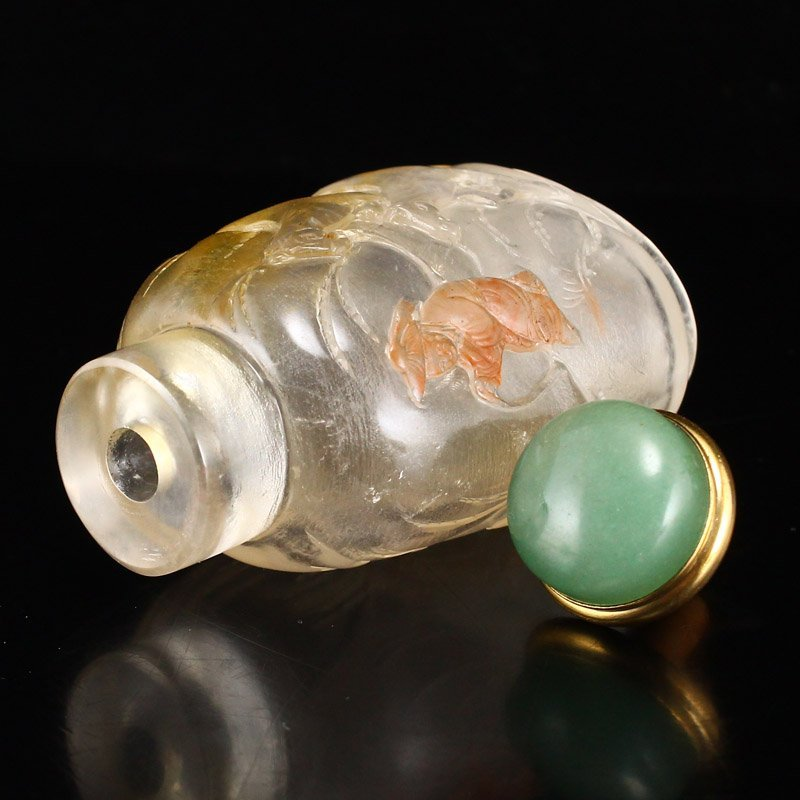 Superb Chinese Qing Dy Low Relief Crystal Snuff Bottle - 5