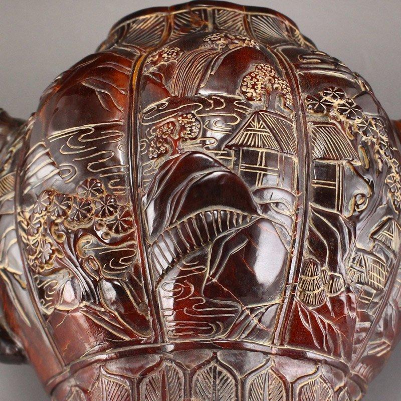 Vintage Ox Horn Carved Teapot - Mountain Village Scene - 10