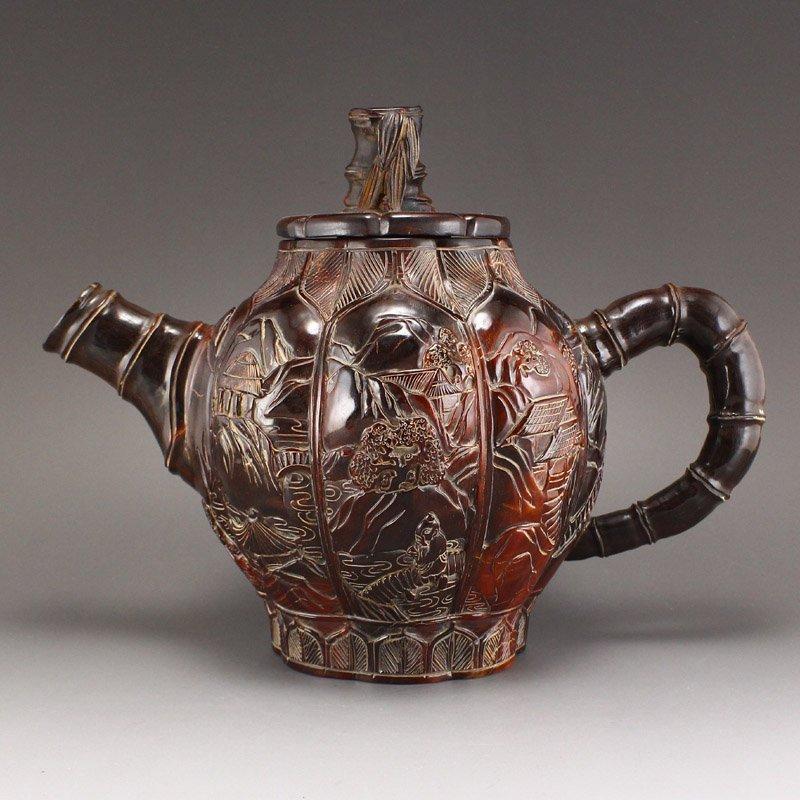 Vintage Ox Horn Carved Teapot - Mountain Village Scene