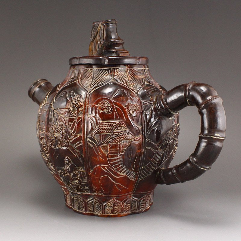 Vintage Ox Horn Carved Teapot - Mountain Village Scene - 2