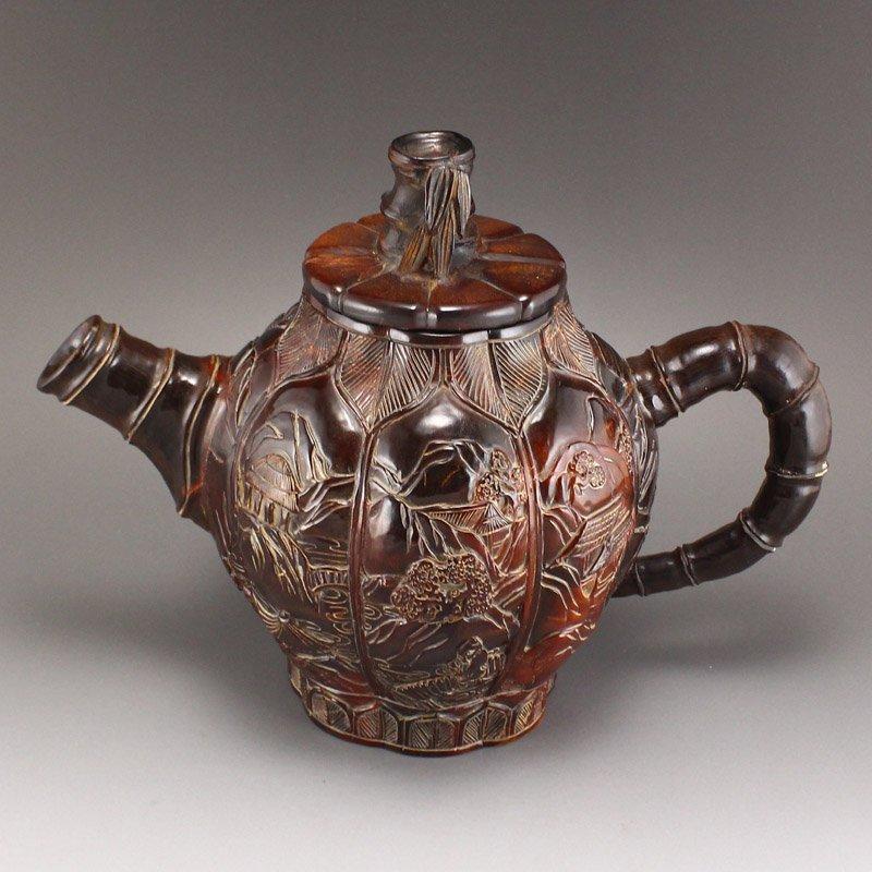 Vintage Ox Horn Carved Teapot - Mountain Village Scene - 5