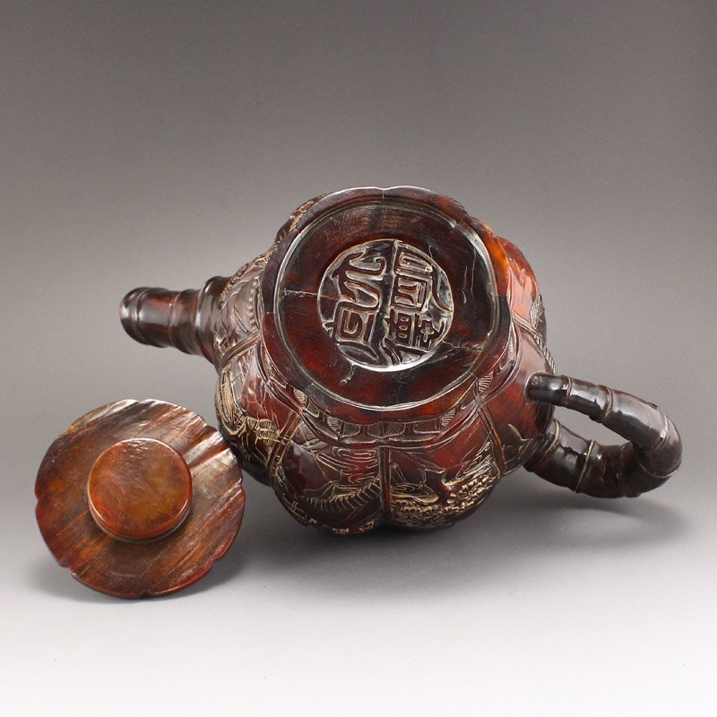 Vintage Ox Horn Carved Teapot - Mountain Village Scene - 7