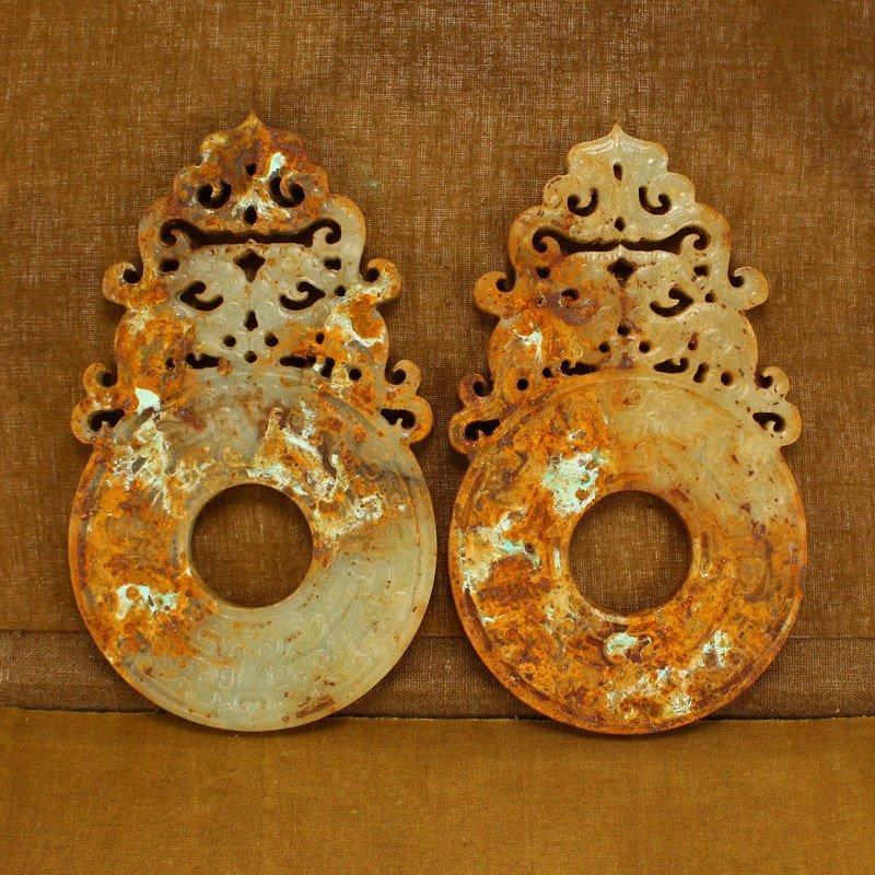 Pair Openwork Vintage Chinese Hetian Jade Phoenixes Bi - 4