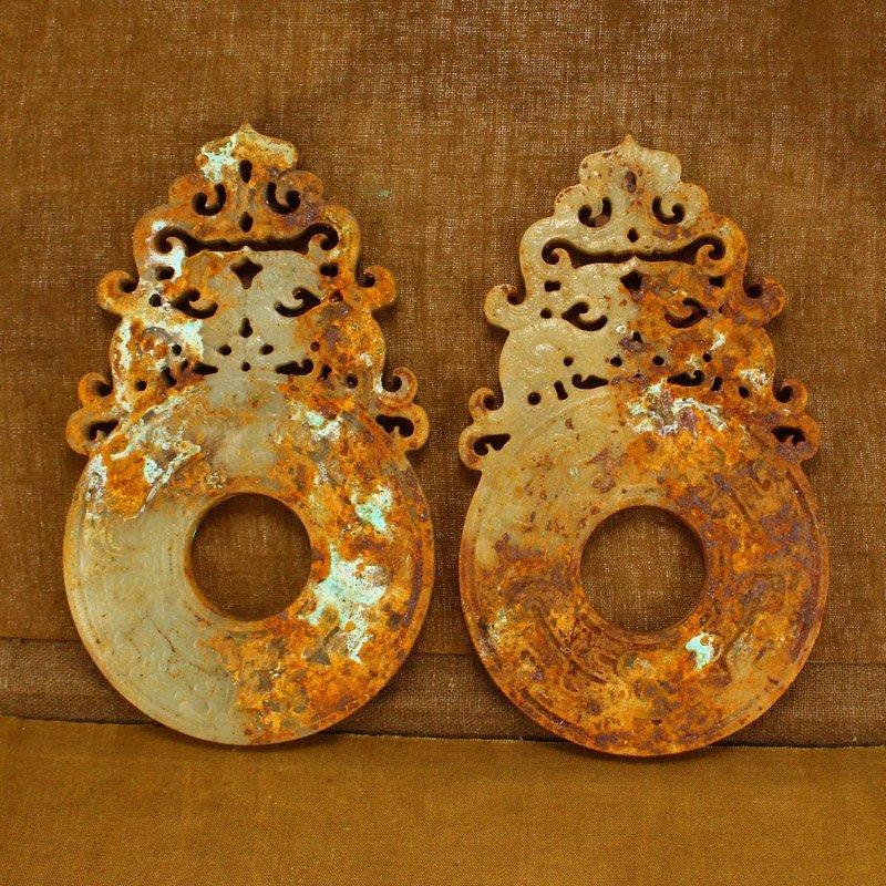 Pair Openwork Vintage Chinese Hetian Jade Phoenixes Bi - 5