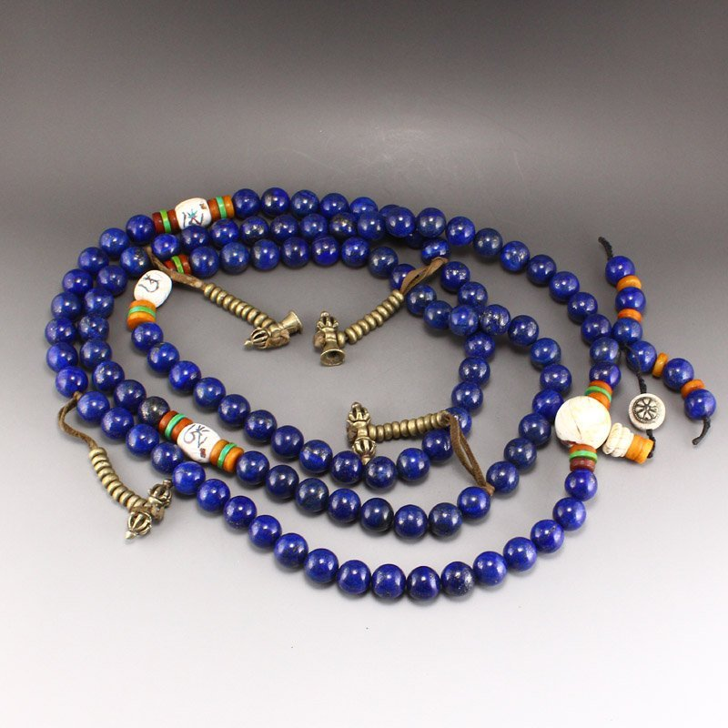 Lapis Lazuli & Tridacna Buddhism Prayer Necklace