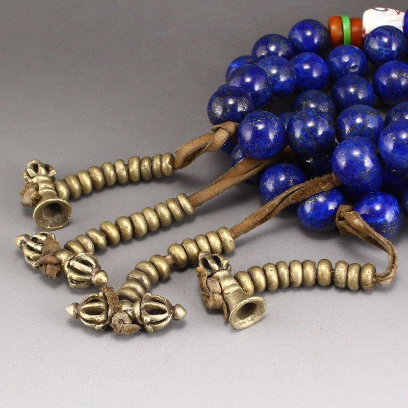 Lapis Lazuli & Tridacna Buddhism Prayer Necklace - 4