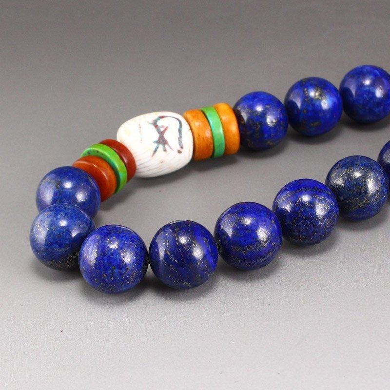 Lapis Lazuli & Tridacna Buddhism Prayer Necklace - 6