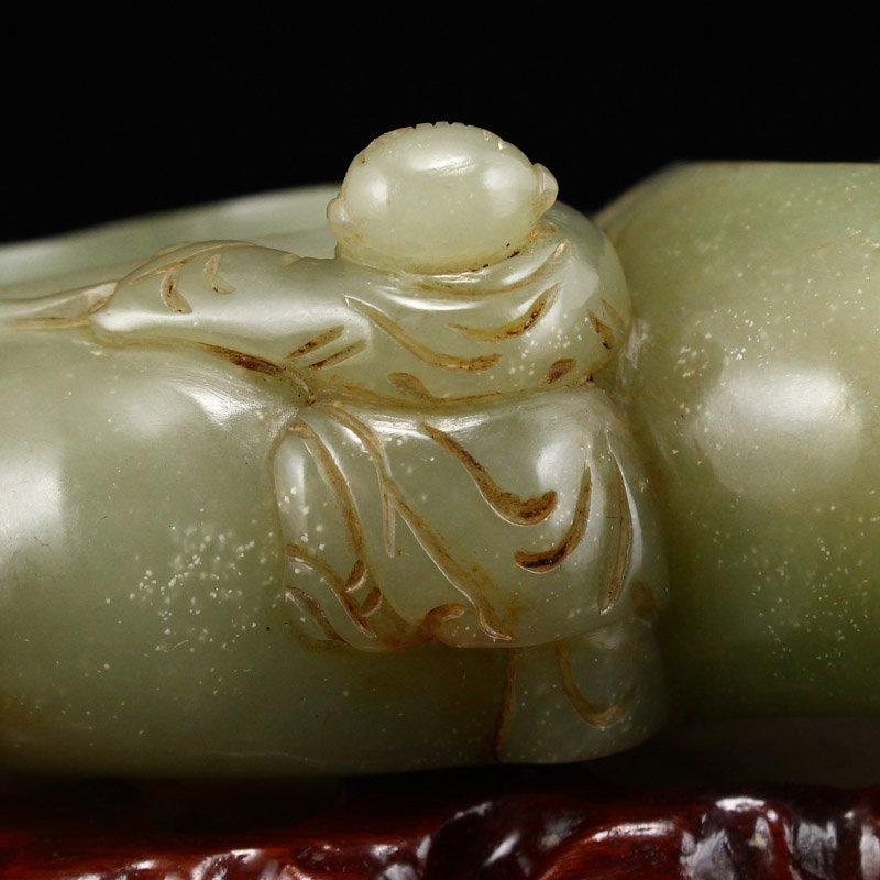 Vintage Chinese Hetian Jade Gourds Brush Washer - 10