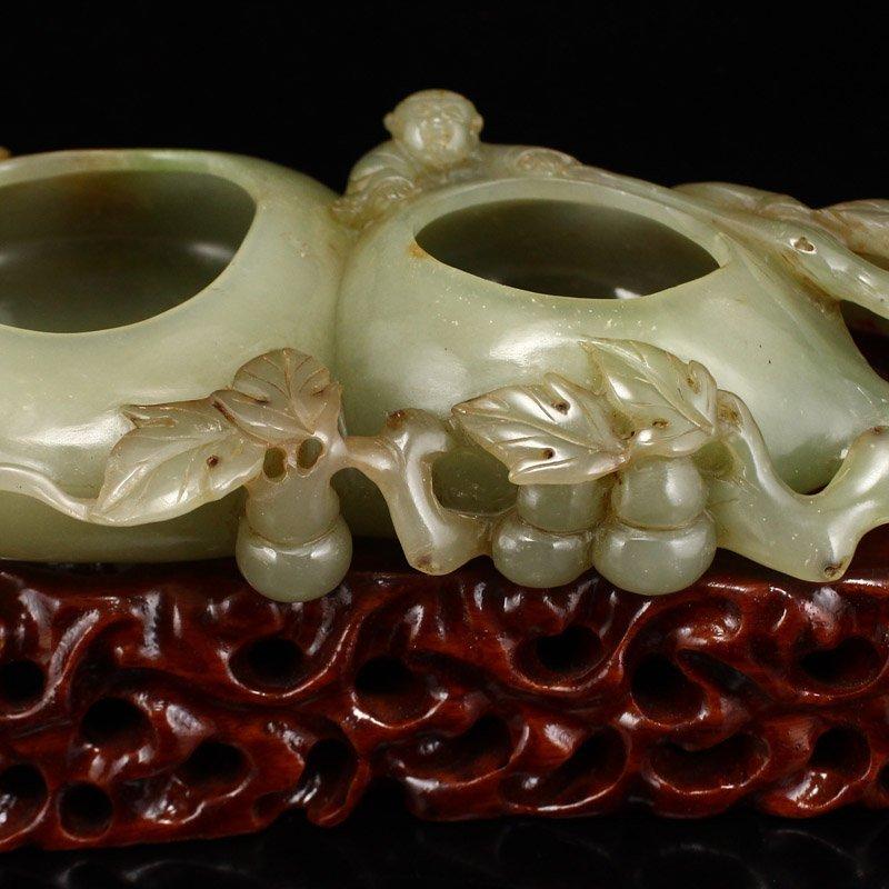 Vintage Chinese Hetian Jade Gourds Brush Washer - 7