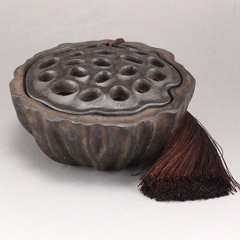 Vintage Chinese Zitan Wood Lotus Pod Incense Burner - 2