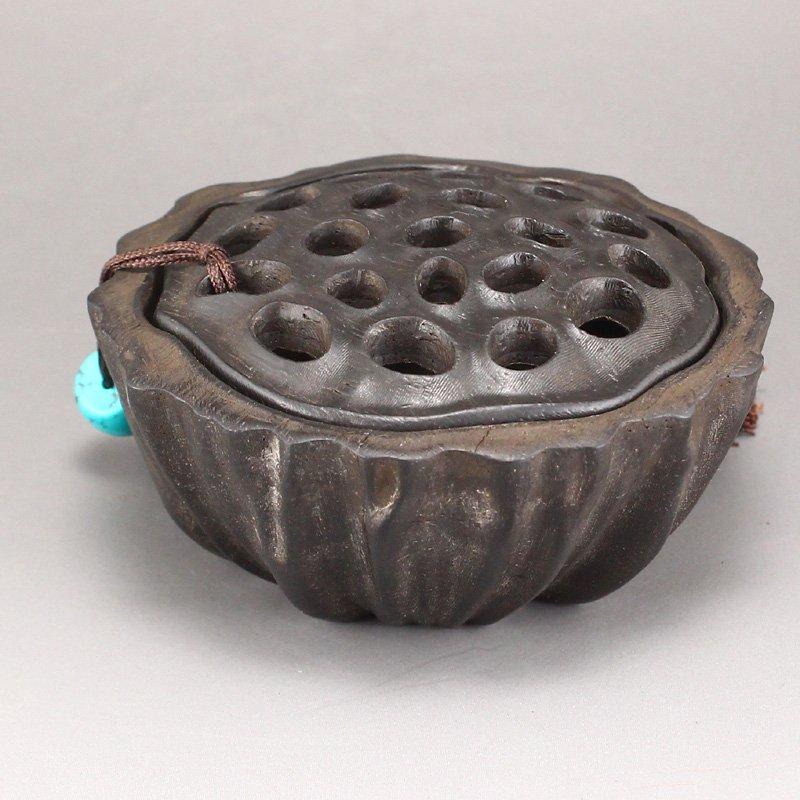 Vintage Chinese Zitan Wood Lotus Pod Incense Burner - 3