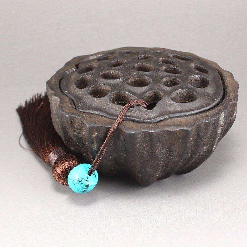 Vintage Chinese Zitan Wood Lotus Pod Incense Burner - 4