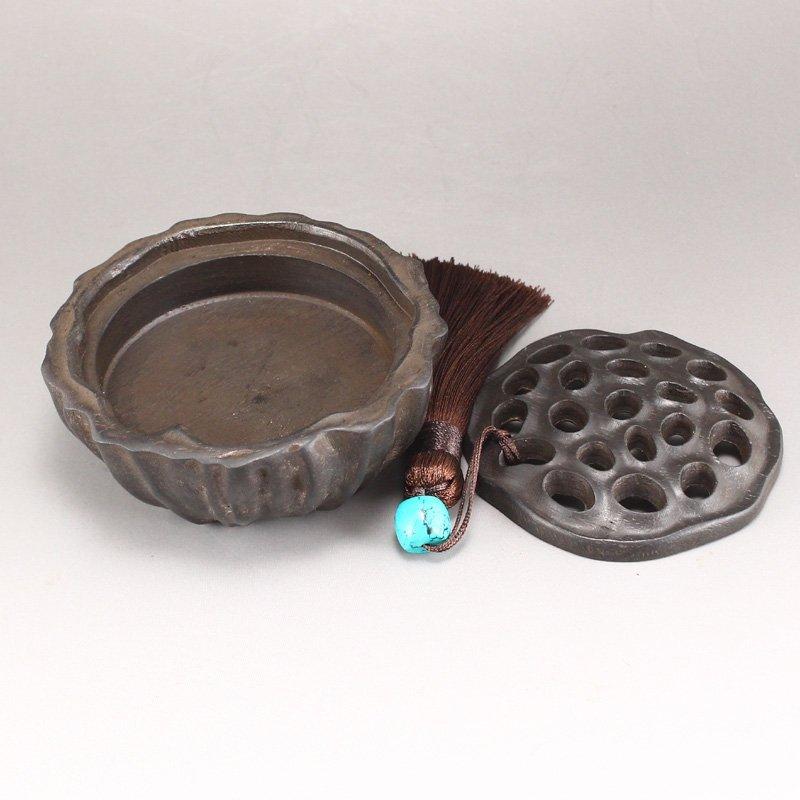 Vintage Chinese Zitan Wood Lotus Pod Incense Burner - 5