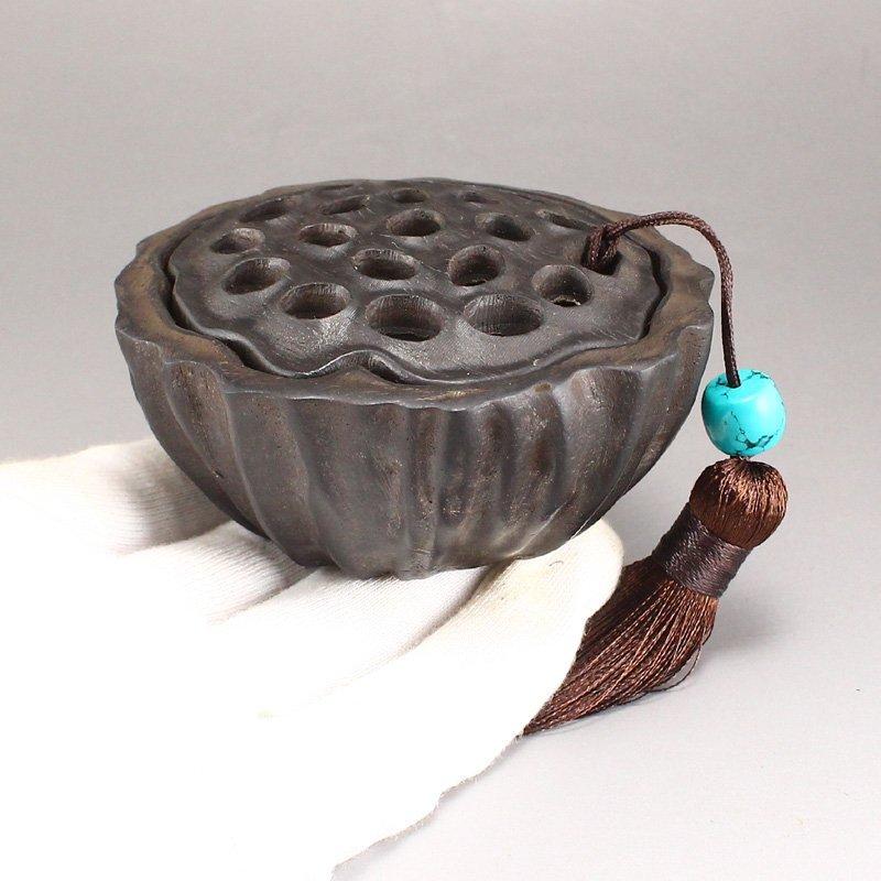 Vintage Chinese Zitan Wood Lotus Pod Incense Burner - 7