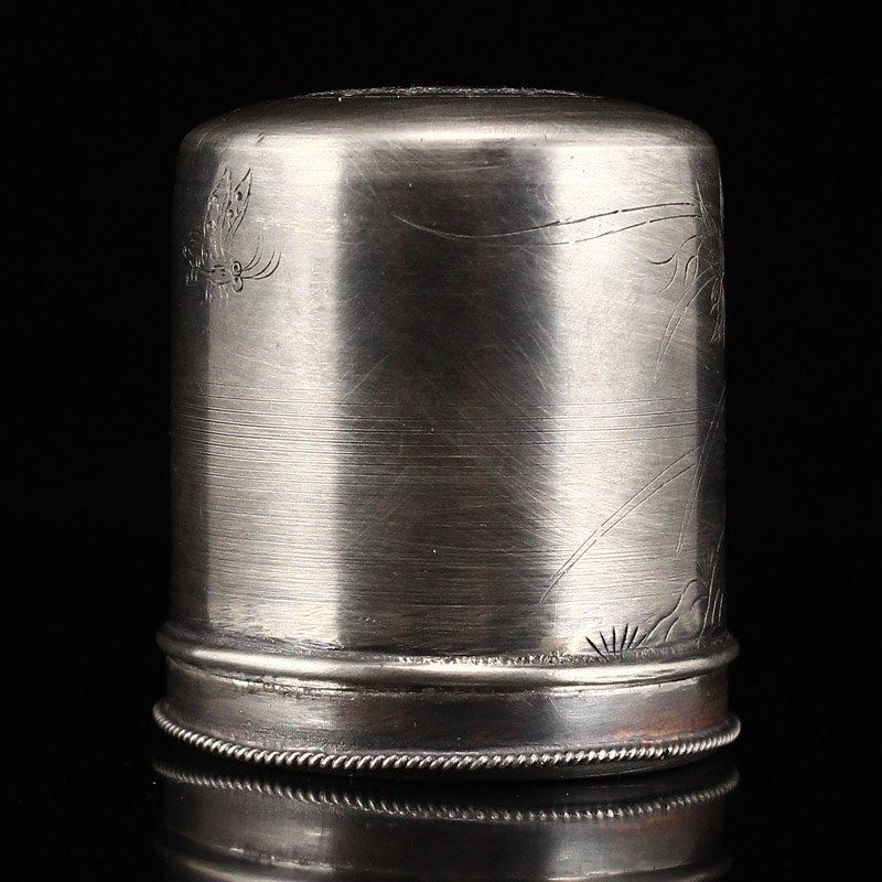 Chinese Qing Dy Sterling Silver Thumb Ring Box - 2