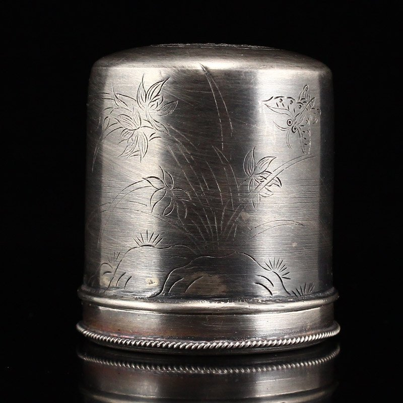 Chinese Qing Dy Sterling Silver Thumb Ring Box - 3