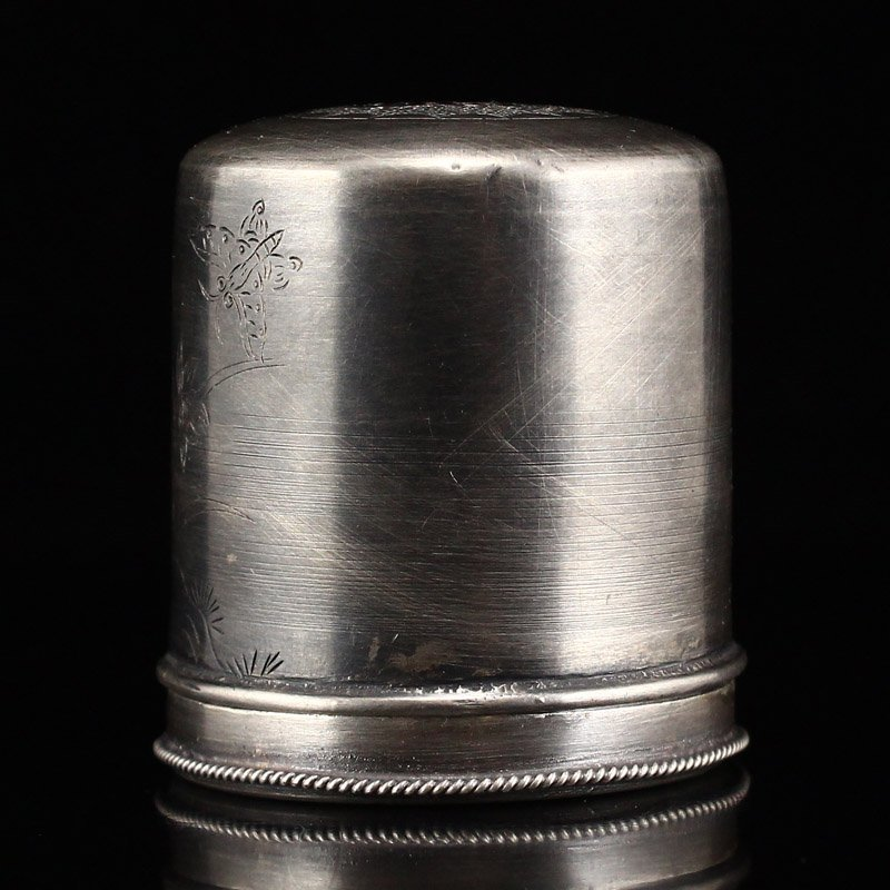 Chinese Qing Dy Sterling Silver Thumb Ring Box - 4