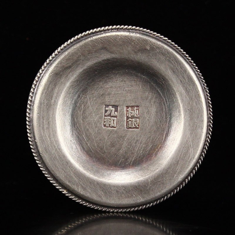 Chinese Qing Dy Sterling Silver Thumb Ring Box - 6