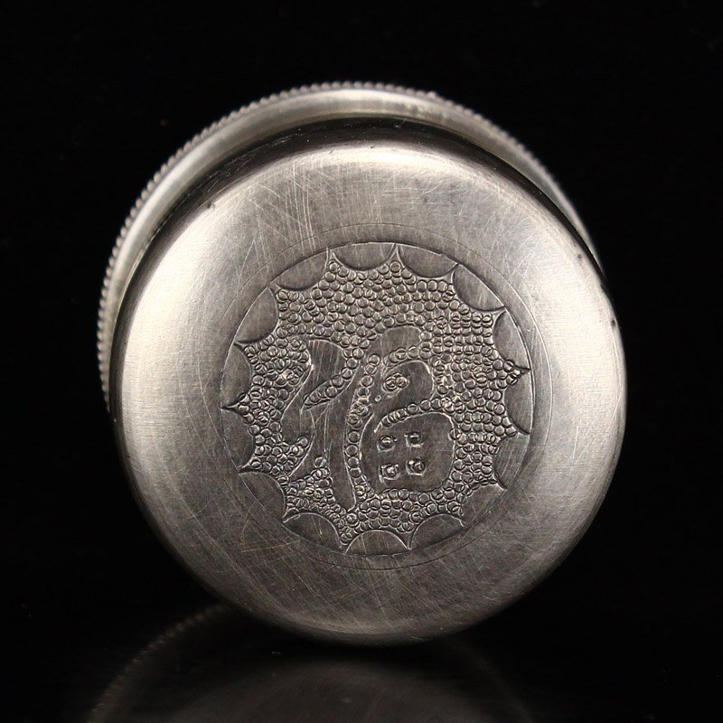 Chinese Qing Dy Sterling Silver Thumb Ring Box - 7