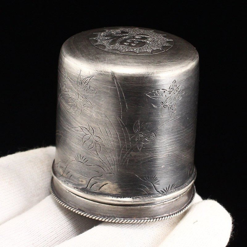 Chinese Qing Dy Sterling Silver Thumb Ring Box - 8
