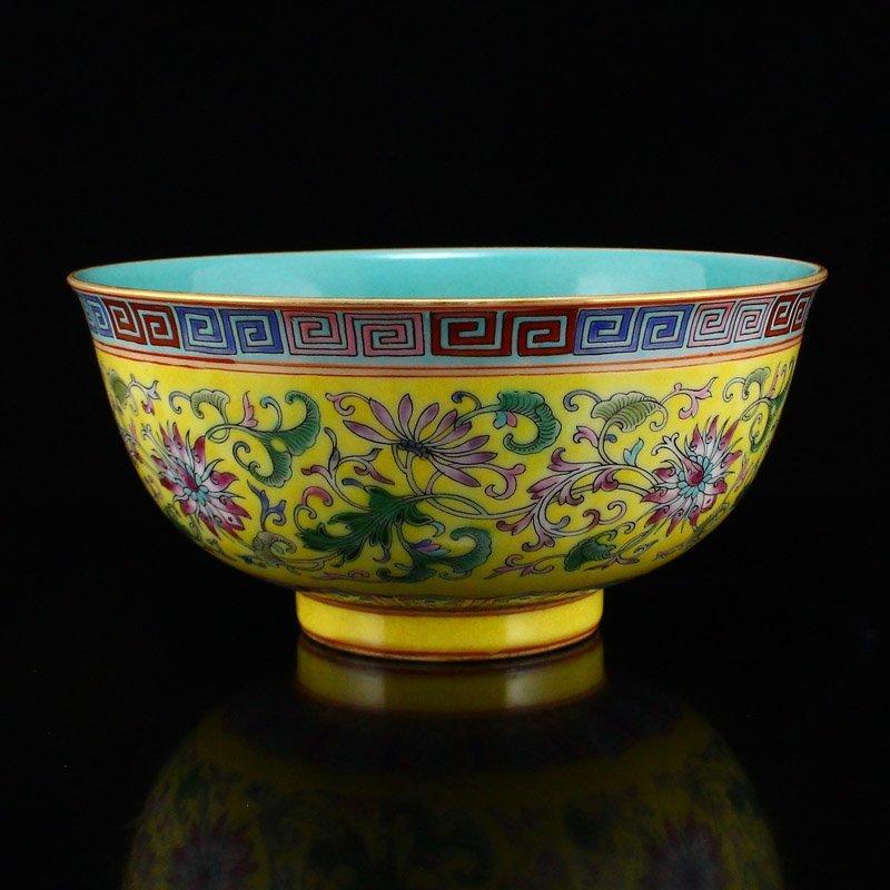 Gilt Edges Yellow Ground Famille Rose Porcelain Bowl - 2
